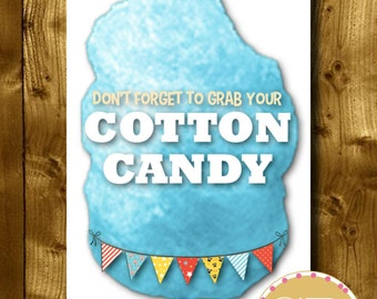 PRINTABLE // Carnival party sign // Carnival sign // Circus party sign // Circus sign // Circus party // Cotton Candy sign // Food sign