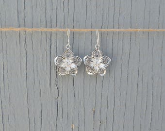 Sterling Silver Flower Earrings, 925 Sterling Drop
