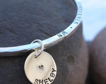 Customized Sterling Silver Name Charm . add-on to a bangle or wear on a chain . soldered or open jumpring . mothers charm . made to order