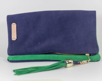 Navy Blue & Green Sude Leather Fold Over Clutch