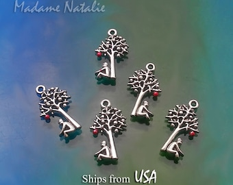 Tree of Life Charms (5), Red Apple Tree Charms, Tree with Sitting Man Pendants, Newton Gravity Apple Tree Charms, Science Charms