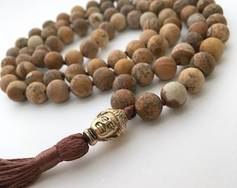 108 Mala Necklace, Picture Jasper Necklace, Matte Necklaces, Hand Knotted Necklace, Hand Knotted Mala, Meditation Jewelry, Buddhist Necklace