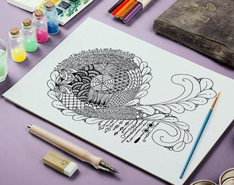 Adult Coloring Page (Abstract Zentangle)
