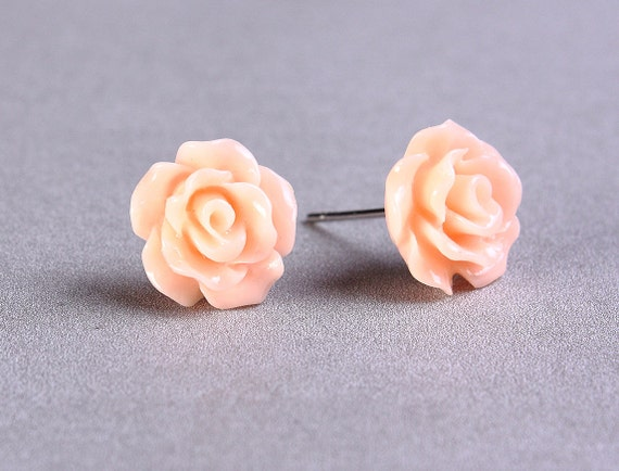 Petite pastel peach orange rose rosebud hypoallergenic stud earrings (741)