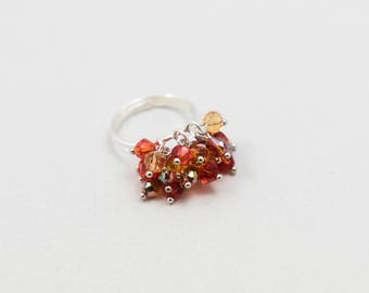 "Ring Glass Beads Adjustable Cluster Chic ""Shine"" Orange and Red"