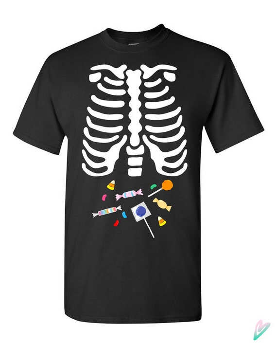 Skeleton Candy Ribcage X Ray Halloween T Shirt Tshirt Tee Color Gift Father Pregnancy Cute Funny Couples Costume College Scary Sweet