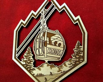 Colorado Gondola Ornament, Alder Wood