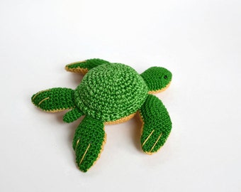 Crochet Turtle toy Christmas gift Amigurumi sea creatures Green turtle Baby stuffed toy Plushie turtle Sea animals Cute Turtle for boy girl