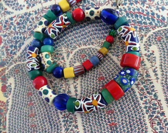African Beads, Ethno style, Eye Beads,  Krobo Glass Beads  Ghana, red Coral, Lapis