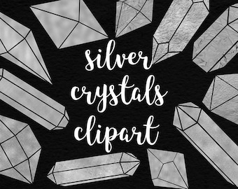 Silver Crystals Clipart, Shiny Foil Crystals Collection, Crystals, Stones, Gems And Diamonds Clipart, 17 PNG Elements, BUY5FOR8