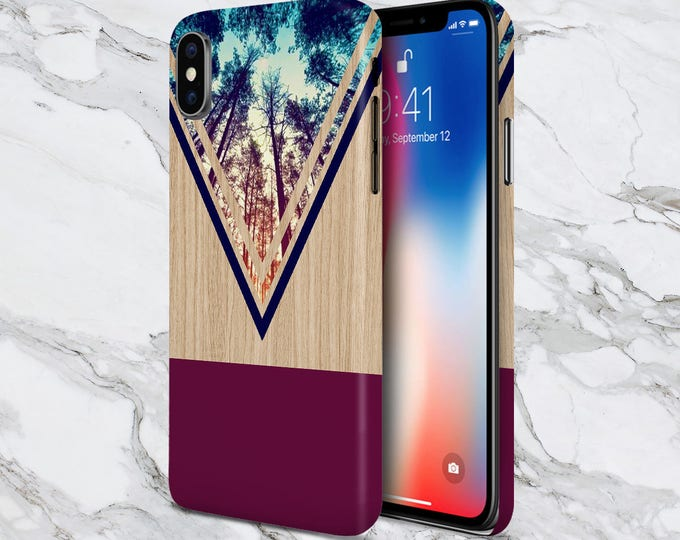 Featured listing image: Galaxy s9 Phone Case - iPhone X case - Google Pixel 2 - Tough iPhone Case - Samsung Galaxy Case - Violet Forest - Navy Chevron Wood - Nature