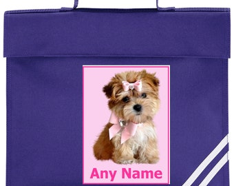 Personalised Cute Puppy with pink bow School Book Bag *Choice of colours*