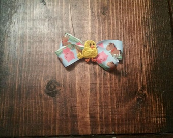 Baby chick farm hair bow
