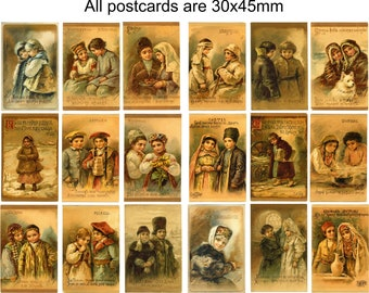 Russian Empire Postcards. A pack of 18 x Vintage miniature woodcuts. SET 1
