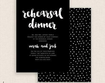 BLACK & WHITE - DIY Printable - Rehearsal Dinner - Double Sided - Black and White - Polka Dots - Brush Script