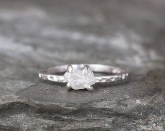 Raw Uncut Diamond Ring - Rough Diamond Engagement Ring - 1 Carat - Hammered Texture Sterling Silver  -April Birthstone - Stacking Ring