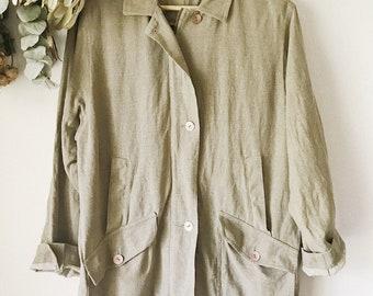 Khaki Linen Oversized Parka Jacket