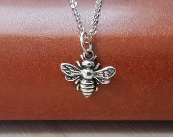Bee Necklace, Bee Sterling Silver Necklace, Tiny Bee Necklace, Bee Jewelry, Honey Bee Necklace, Bumble Bee Necklace, Bee Charm Necklace