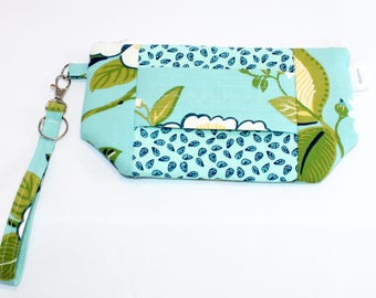 Wristlet Wallet - iPhone Plus - Large Wristlet Clutch with hand strap and removable wrist strap - EDC Wristlet - EDC Wallet - Tropical