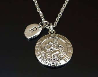 Travel gift saint christopher necklace leather mens st st christopher necklace st christopher charm st christopher pendant st christopher jewelry st christopher medal saint christopher medal aloadofball Gallery