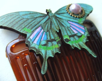 Butterfly, Steampunk, cybergoth, wooden butterfly, pink, lilac, teal, purple, green, comb, hair slide, by NewellsJewels on etsy