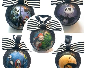 Jack Skellington Nightmare Before Christmas - Christmas Tree Baubles/Decorations - set of 5