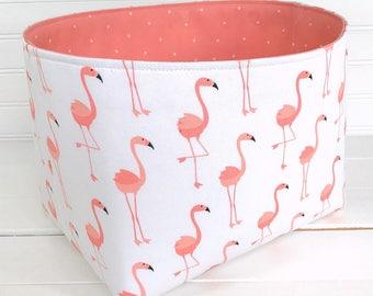 Flamingo Storage Basket Baby Girl Nursery Decor Home Decor Storage Bin Organizer Blush Coral Pink Coral Tropical Pink Flamingos