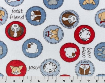 SMD Must Love Dogs Bluebell Minky, Shannon Cuddle Fabrics, Cuddle®, Print, Fabric by the yard, Dogs, Color of the year, Designer fabric