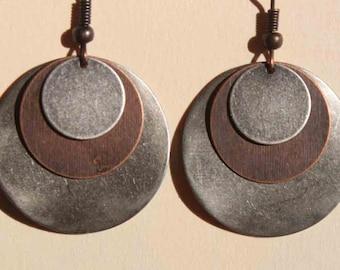 Mixed Metal Earrings Dangle Drop Earrings Boho Earrings Boho Jewelry Bohemian Earrings Copper Silver Earrings Gift For Her Gift for women