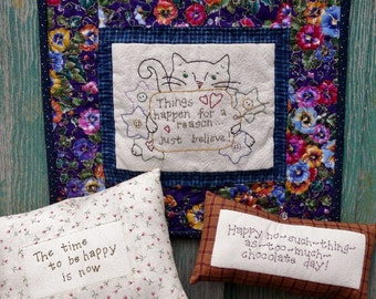Kitty cat embroidery Quilt PDF Pattern - inspire wallhanging hand stitchery Chocolate primitive pillow