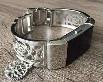 Silver Metal Band for Fitbit Charge 2 Fitness Activity Tracker Flowers Design Silver Bangle Tree of Life Adjustable Fitbit Charge 2 Bracelet