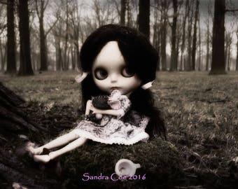 "Blythe Art Print ""Deirdre's Bad Day"" 12x18 Poster by Sandra Coe, Big Eye Doll Photography, Black and White Gloomy Goth Art"