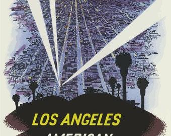 LA02 Vintage Los Angeles American Airlines Travel Poster Print