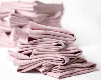 Bulk of 50 Linen Napkins in blush pink color perfect as wedding napkins or dinner napkins