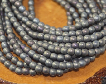 Czech Glass Beads, 4mm Round Druks, Gray Matte Iris, 50 Beads