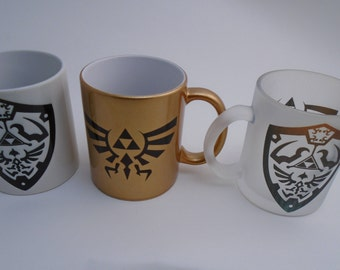 Legend of Zelda Hylian Shield and Bird Pinted Mug, White, Gold, Frosted, or Color Changing!