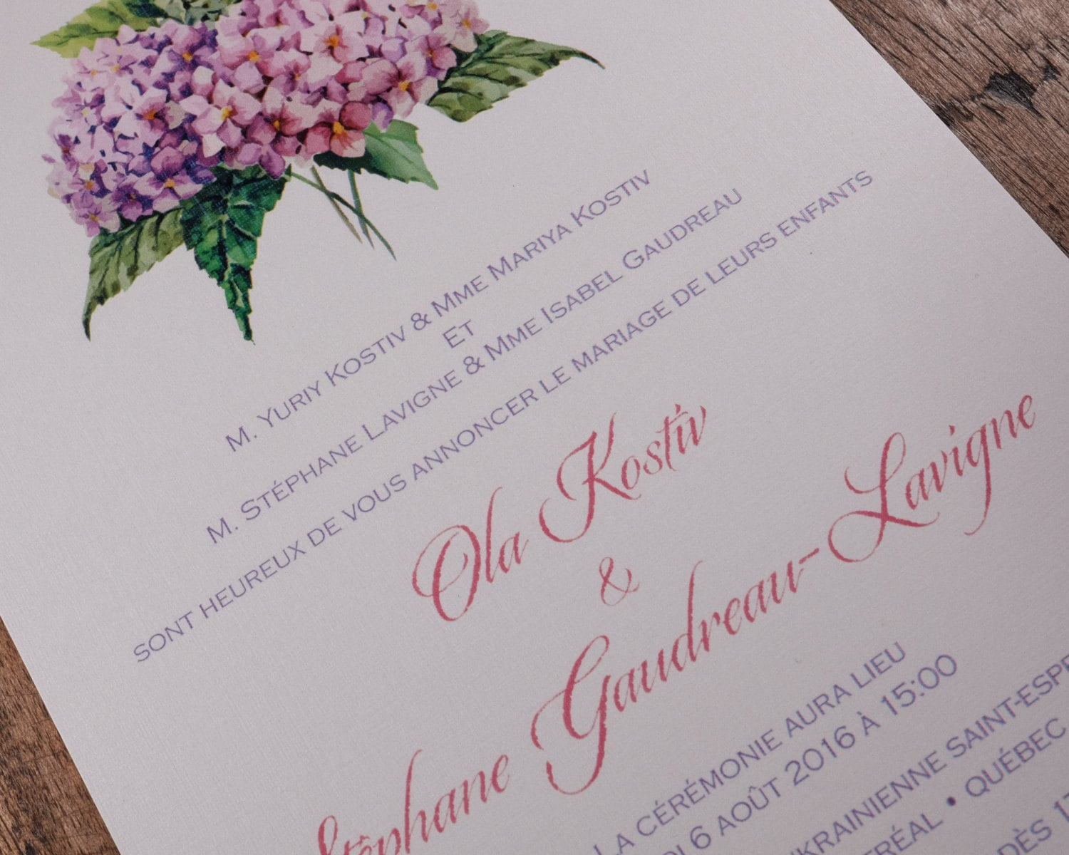 Pink And Purple Flower Wedding Invitation, Pink And Purple ...