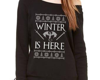 Winter Is Here GoT Slouchy Off Shoulder Oversized Sweatshirt