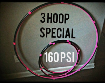 SALE 10 percent off  - Lot Of 3 Hula HOOPS - 1 Collapsible 160 psi Weighted Adult Hoop & 2 Mini Arm Hoops - best seller push button