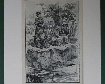 Antique Edwardian Fishing Print Black and white art of Anglers by a river bank - Available Framed - Angling Decor - Antique Rustic Gift