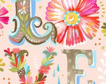 LOVE Block Letter Vertical Print  | Watercolor Nursery Art | Inspirational Print | Lettering | Katie Daisy | Wall art | 8x10 | 11x14