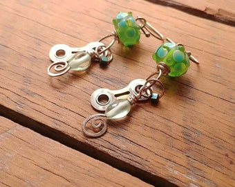 "Green Knobby Glass ""Tom Boy"" and Up-Cycled Bicycle chain  -recycled bicycled"