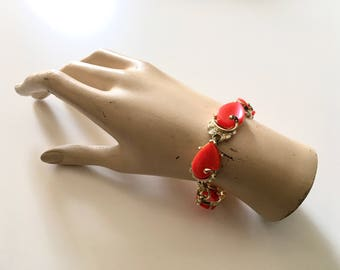 Vintage 1950s Orange Thermoset Bracelet 50s