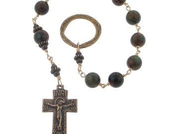 Irish Penal Green Opal Wire-Wrapped One Decade Rosary