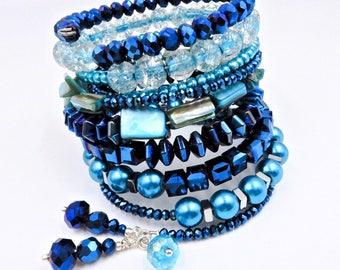 Blue beaded bracelet, blue wrap bracelet, memory wire bracelet, memory wire wrap bracelet, multi layer bracelet, stacked bracelet
