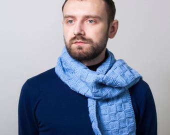 Knitted mens scarf Fathers Day Gifts Hand knitted mens scarf Cozy Mens Scarf Boyfriend Gift Scarf for Men Gift for him Crochet Winter Scarf