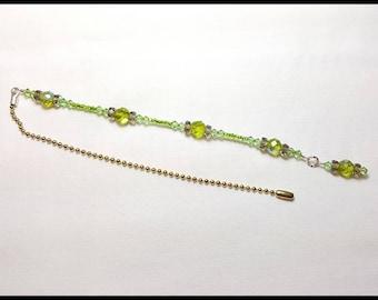 Sparkling Peridot Green Crystal Beaded Fan Pull Silver Chain