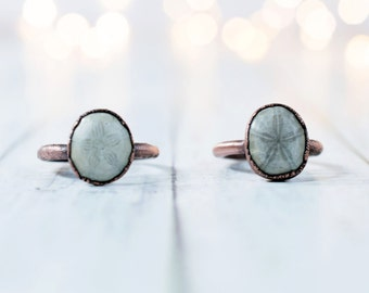Sand dollar fossil ring | Electroformed fossil jewelry | Raw organic fossil ring | Fossilized Sand Dollar | Women or men's mineral ring