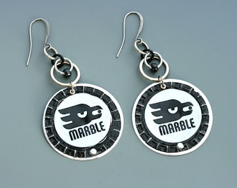 Bottle cap earrings. Marble Brewing Company. White and black and silver. Long earrings. Reuse. Recycle. Upcycle.