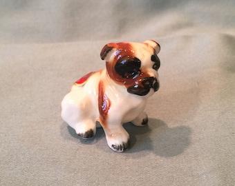 Bone China Japan English Bulldog Figurine. Miniature Realistic Red and White Bulldog. Dollhouse, Fairy Garden, Display Pet Gift Decor